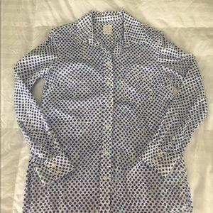 GAP Tops - GAP button down blouse. White w/blue dots